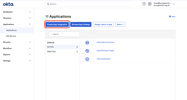 Create App Integration button.